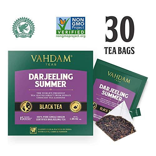 Tè Darjeeling in foglie dell'Himalaya, 15 bustine di tè (confezione da 2) - Bustine piramidali di tè Darjeeling a foglia lunga - Tè ricco e aromatico, Darjeeling, Secondo Flush, India
