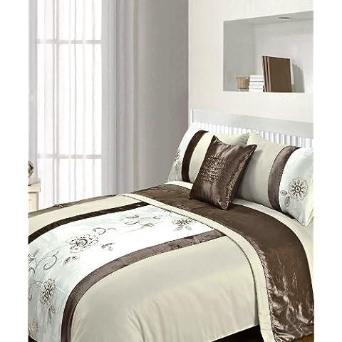 Just Contempo - Juego de ropa de cama (5 piezas, bordado), poliéster, Chocolate Brown ( cream beige ),