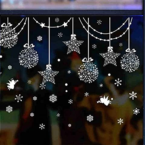 HSNZZPP Creative Shop Window Glass Decoration Holiday Snowball Five - Pointed Star Snowflake Wall Stickers Christmas Ornaments