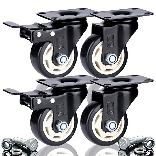 DSL 4 x 75 mm PU Heavy Duty doppio cuscinetto 2 ruote + 2 ruote in gomma frenata girevoli rotelle per carrelli mobili, 400 kg, montaggio libero