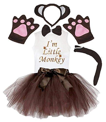 Petitebelle Stirnband Bowtie Schwanz Handschuhe Hemd Rock 6pc Mädchen-Kostüm 6-8 Yr Braun ()