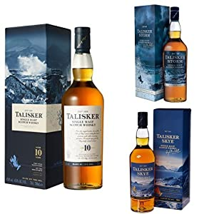 Bundle: Talisker 10 Year Old, Talisker Storm and Talisker Skye Single Malt Scotch Whisky 70cl