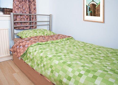 Preisvergleich Produktbild Pixel Bettbezug Mit Kissenbezug - Braun / Grün, Doppelbett
