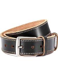 "Men's belt, Jeans Belt black, width: 1.5"" unisex with decorative stitching"