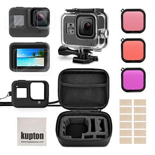 Kupton Zubehör-Kit für GoPro Hero 8 Bundle enthält wasserdichte Gehäusetasche + Displayschutzfolie aus gehärtetem Glas + Tragetasche +Silikonhülle +Schnorchelfilter+Anti-Fog-Einsätze für GoPro Hero8