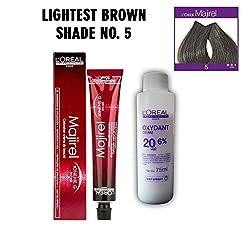 Loreal Professionnel Majirel- 5 (Lightest Brown) (49.5 g) Beauty Colouring Cream & Developer, Pack Of 2