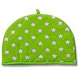 Homescapes Teekannenwärmer Stars grün Design Tea Cosy Kannenwärmer 100% Baumwolle