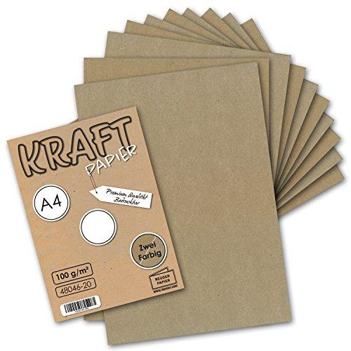 50x Vintage Kraftpapier DIN A4 100 g/m² - 2-farbig natur-braunes/graues Recycling-Papier, 100% ökologisch Brief-Bogen Kunst & Künstler-Papier