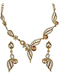Penny Jewels Alloy Gold Plated Latest Designer Glamour Necklace With Earrings Set For Women & Girls