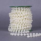 10m Perlen Kette Girlande Kunststoff Baumwolle Line Acryl Kristall Perle Blume Girlande Weihnachten/Hochzeit/Festival DIY Deko (Beige)