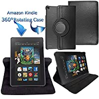 Kamal Star KINDLE FIRE HD 10 2015 Case, Leather Wallet flip cover,back stand cover, Full Body protection tablet cover by (Plain Black)
