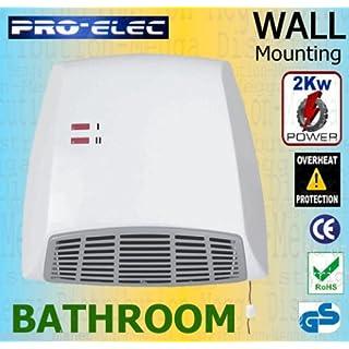 ProElec 2Kw IP21 Bathroom Wall Mounting 2-in-1 Electric Downflow Instant Fan/Heater w/ Pull Cord