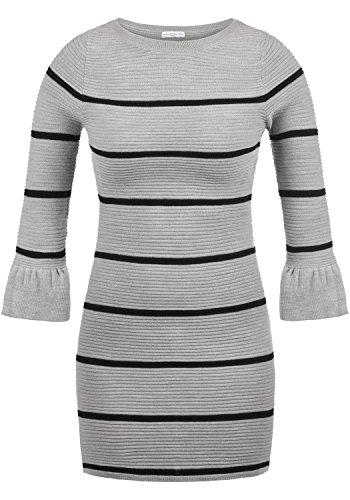JACQUELINE de YONG by Only Rike Damen Strickkleid Feinstrickkleid Kleid Mit  Rundhals Und Volant-Ärmeln, Größe S, Farbe Light Grey Melange Black Stripes d353cce589