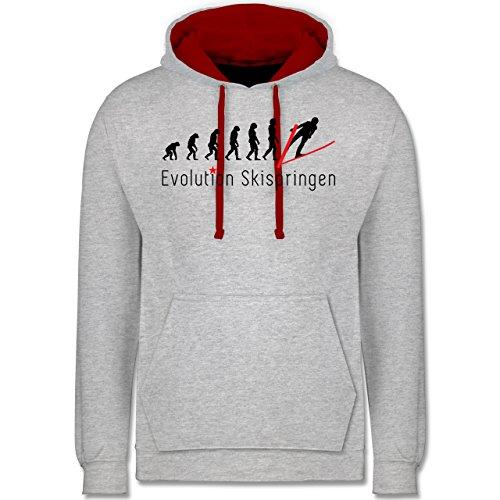 Evolution - Skispringen Evolution - Kontrast Hoodie Grau Meliert/Rot