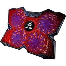 KLIM Wind Raffreddatore per PC portatile - Il Più Potente - Azione Rapida - 4 Ventole con Supporto per Gaming PC (Rosso))