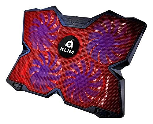 KLIM Wind Refroidisseur PC portable - Le Plus Puissant des Supports Ventilés - Refroidissement Rapide - 4 Ventilateurs Support Ventilé Gamer Gaming Plaque Refroidissante (Rouge)