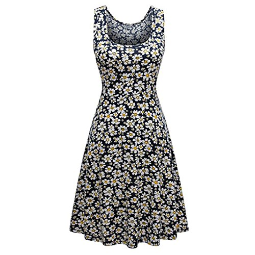 QUINTRA Women Summer Vintages Sleeveless Beach Bohe Casual Floral Tank Short Mini Dress