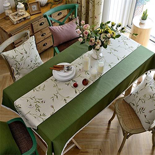 Dafa Tischdecken Erfrischende Blatt Baumwolle Line Tischabdeckung Rechteckige Studie/Abendessen/Kaffee Schreibtisch Green Forest Idyllische Antependium (Design : Tablecloth, Size : 130 * 200cm) -