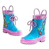 Nostro Frozen pioggia stivali sono sicuro di fare un tuffo in umido. Il design presenta Anna e Elsa opere d' arte, elegante pizzo e manici in gomma resistente che li rende facile da tirare su