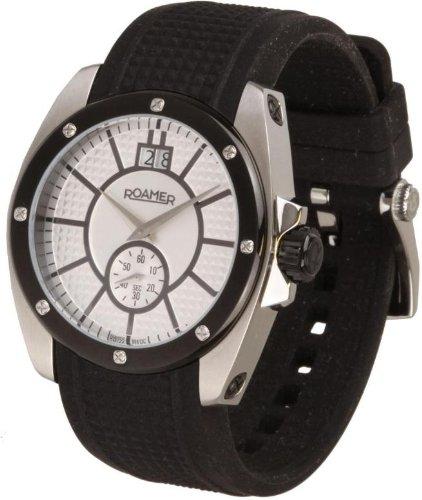 Roamer - 712849411507 - Swiss Made - Montre Mixte - Quartz Analogique - Cadran Argent - Bracelet Caoutchouc Noir
