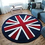 CHAI Wohnzimmer-Dekor-Teppich-Bodenfliesen-Charakter-Muster-Weißer Englischer Art-Runder Teppich-Schlafzimmer-Rutschfester Teppich-Kind-Teppich Teppich Teppiche (Größe : 80cm)