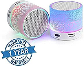 Quastro Wireless LED Bluetooth Speakers S10 Handfree with Calling Functions & FM Radio for All Android & iPhone Smartphones (One Year Warranty, Assorted Colour)