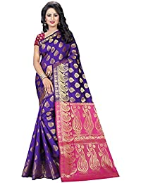 SATYAM WEAVES WOMEN'S ETHNIC WEAR BANARSI SILK PURPLE-PINK COLOUR SAREE. (WARRIOR PURPLE-PINK)…