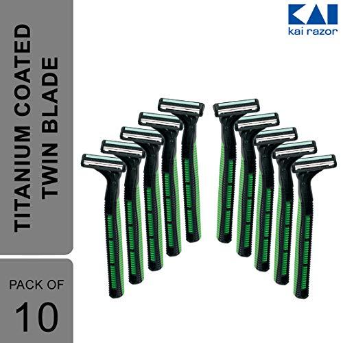 Kai Japan Razor for Men K-2, Green, 20 g (Pack of 10)