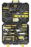 DEKO Werkzeugkoffer ideal für den Haushalt oder die Garage,168-teilig,gefüllt,General Haushalt mit Schraubenschlüssel und Kunststoff Werkzeug-Box