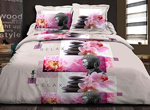 douceur de nuits Parure de Couette Zen Relax, Coton, Multicolor, 240x220x0,1 cm
