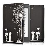 kwmobile Cover per Kobo Aura Edition 2 - Custodia a libro per eReader - Copertina protettiva libro flip case Protezione per e-book reader Design soffione amore bianco nero