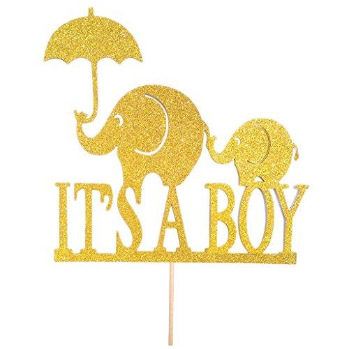 LOVIVER 20xGlitter Silber Mädchen Junge Baby Dusche Kuchen Topper Gender - Silber It's a Boy, 14 cm - Gold It's a Boy, 14.8cm x 21cm