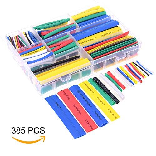 YoungRich 385PCS Schrumpfschlauch Set Wrap Kabel Hülse Elektroisolierschlauch Sortiment Kit Einfach zu Bedienen mit Box für DIY Reparieren 7 Farben mit 9 Verschiedene Größen