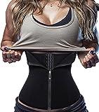 Damen Waist Trainer Reißverschluss Sport Unterbrust Korsett Cincher Shaper Body (Medium, Schwarz)