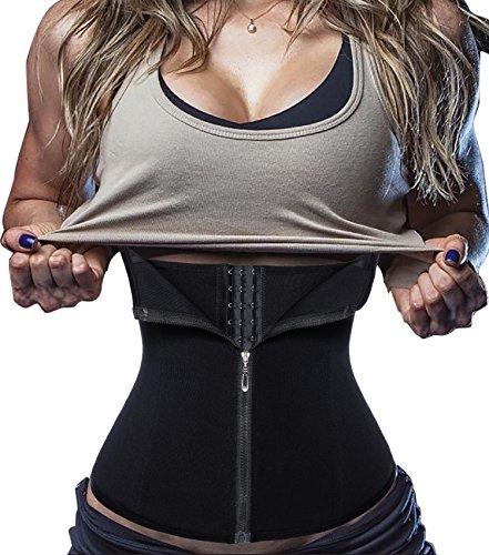 Damen Waist Trainer Reißverschluss Sport Unterbrust Korsett Cincher Shaper Body (Medium, Schwarz) (80's Fitness Trainer Kostüm)