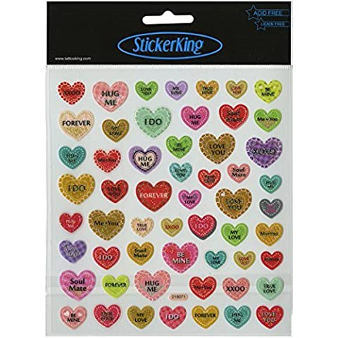 Tattoo King Candy Hearts Stickers, Multicolor by Tattoo King
