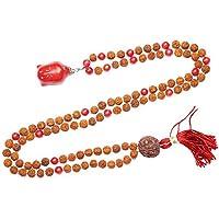 Mogul Interior Buddhist Knotted 108 Coral Beads Rudraksha Japamala Buddha Pendant Necklace