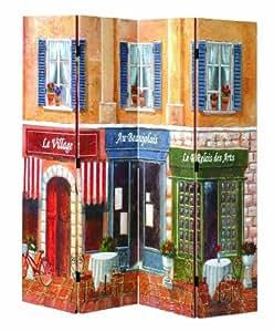 Haku Möbel 30921 Paravent Bois Massif Sapin/Toile Multicolore 3 x 160 x 180 cm