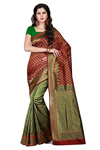 Viva N Diva Saree For Women's Maroon & Green Color Patola Silk...