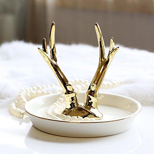 PuTwo Boîte à Bijoux Présentoir à Bague Bracelet Collier Style Bois de Cerf Décoration de Maison - Or