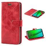 Mulbess Handyhülle für Moto G7 Hülle, Moto G7 Plus Hülle, Leder Flip Case Schutzhülle für Motorola Moto G7 / G7 Plus Tasche, Wein Rot