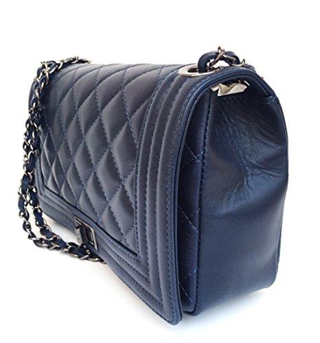 SUPERFLYBAGS Damen handtasche Schultertasche Echtes Leder Gesteppte Nappa model Loira Made in Italy dunkelbleu