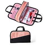Make Up bag, borsa impermeabile sacchetto di viaggio multifunzionale portatile di trucco pennello cosmetico per donne ragazze nero Black&Pink