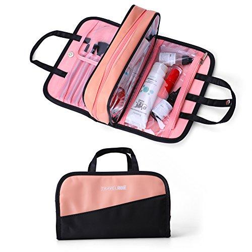 Make-up-Tasche für Damen, wasserdicht, tragbar, professionell, multifunktional, Kosmetiktasche für Frauen und Mädchen Black&pink M