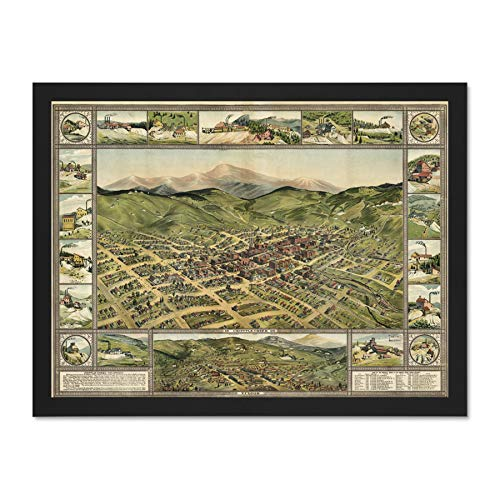 Doppelganger33 LTD Map Cripple Creek 1896 Vintage Picture Large Framed Art Print Poster Wall Decor 18x24 inch Supplied Ready to Hang - 1896 Vintage-print