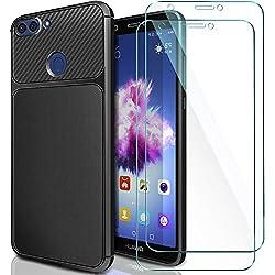 ivencase Coque Huawei P Smart Noir & [Lot de 2] Verre Trempé, Huawei P Smart Coque Silicone TPU Bumper Etui Housse + Film Protection d'Écran en Verre Trempé pour Huawei P Smart/Huawei Enjoy 7s