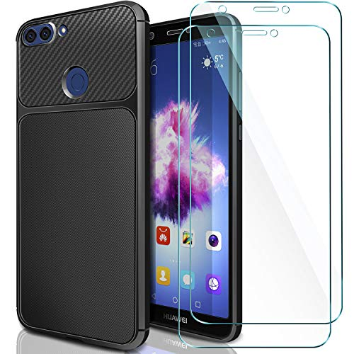 ivencase Coque Huawei P Smart Noir & [Lot de 2] Verre Trempé, Huawei P Smart Coque Silicone TPU Bumper Etui Housse + Film Protection d'Écran en Verre Trempé pour Huawei P Smart/Huawei Enjoy 7s