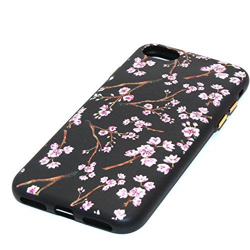 iPhone 7 Plus Hülle, iPhone 8 Plus Hülle, iPhone 8 Plus / 7 Plus Schutzhülle, iPhone 8 Plus / iPhone 7 Plus Handyhülle, BONROY Ultra-dünn [Perfekte Passform] TPU Silikon Hülle Bunte Muster Case Cover  Pfirsichzweige