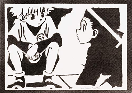 Hunter x Hunter Killua Zoldyck und Gon Freecss Poster Plakat Handmade Graffiti Street Art - Artwork -
