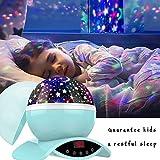 Amouhom Sternenhimmel Projektor Lampe mit Fernbedienung, LED Nachtlicht mit Wiederaufladbare Batterie 360 Drehen und Timing Schlaflicht für Kinders Schlafzimmer Romantische Geschenke für Frauen(Grün) - 3